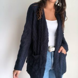 NWT Olive + oak deep navy open cable cardigan M